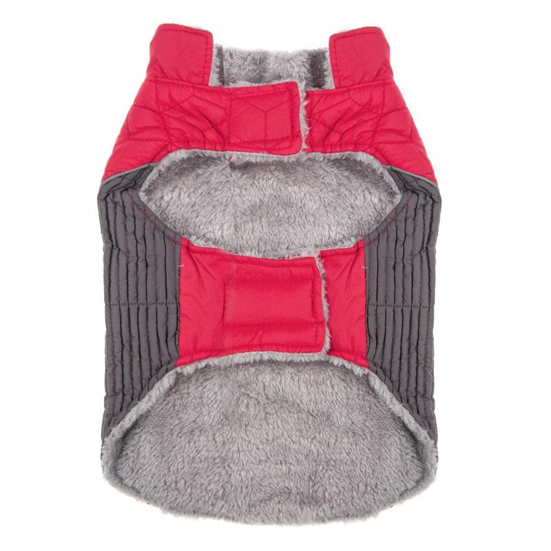 Jacheta imblanita pentru catei Red, marimea L, fermoar velcro 2021 shopu.ro