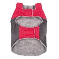 Jacheta imblanita pentru catei Red, marimea S, fermoar velcro