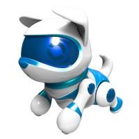 Jucarie interactiva catel robot Teksta, 12 x 9 x 12 cm, Albastru/Alb