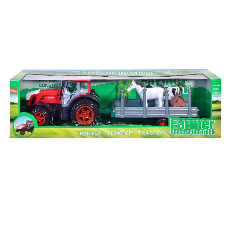 Tractor cu remorca Farmer Construction, accesorii incluse 2021 shopu.ro