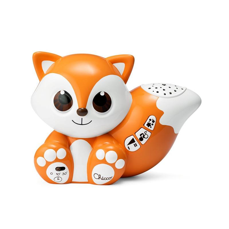 Jucarie 2 in 1 Vulpita Foxy Chicco, 16 x 8 x 13 cm, 3 x AAA, 3 melodii, tip proiector, 0 luni+ 2021 shopu.ro