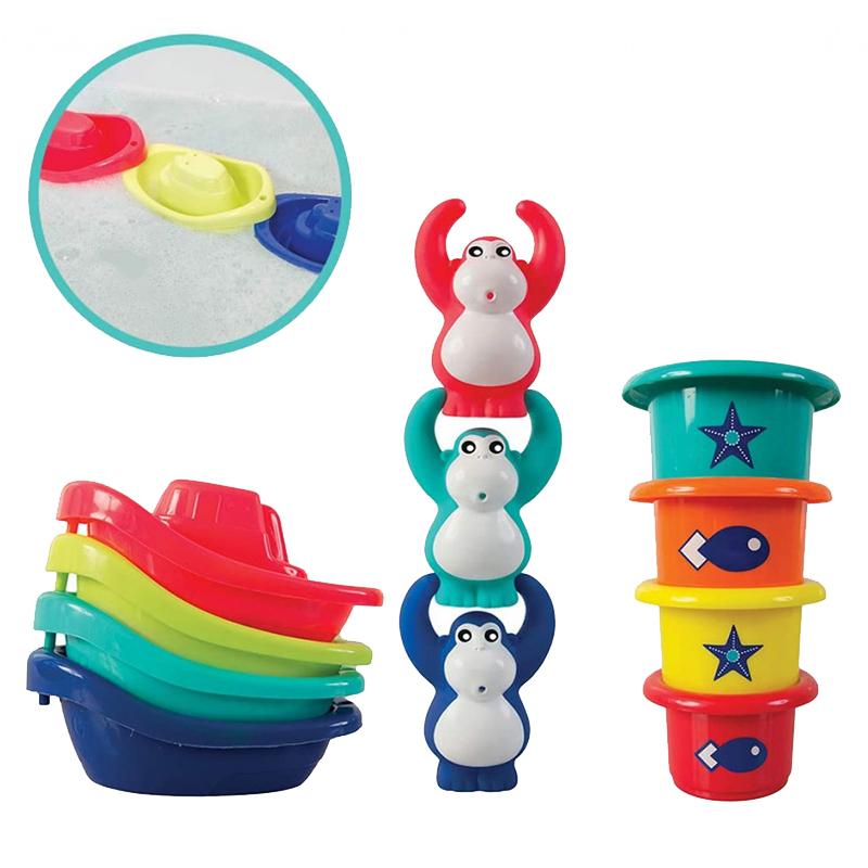 Jucarie de baie Mini Monkeys Ludi, ABS, 10 luni+, Multicolor 2021 shopu.ro