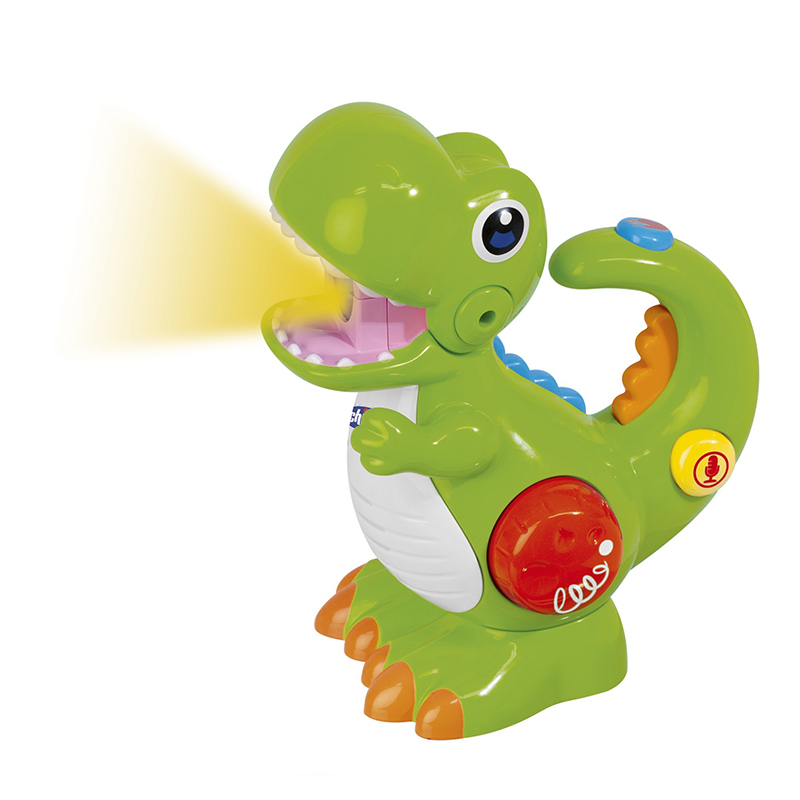 Jucarie dinozaurul T-Rec Chicco, 15 x 16 x 8 cm, 1 x AA, inregistrare vocala/lanterna, 2-5 ani 2021 shopu.ro