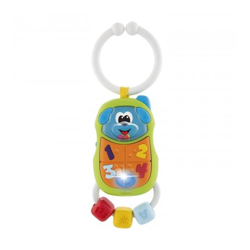 Jucarie zornaitoare Puppy Phone Chicco, sistem pornire/oprire, melodii atractive, 3-18 luni, Multicolor 2021 shopu.ro