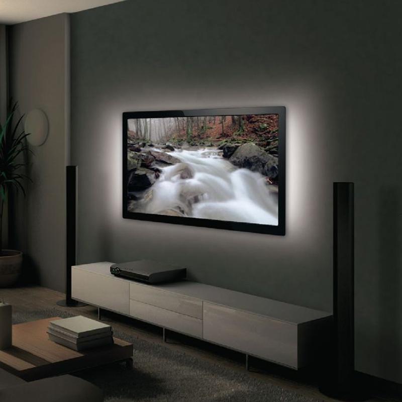 Kit 2 benzi LED pentru televizor Mood Light, USB, lumina alba