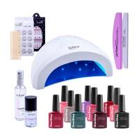 Kit Starter Lampa UV LED SUNone, Ultrabond + 10 oje Lila Rossa, degresant, 2 x decoratiuni, 2 x pile refolosibile
