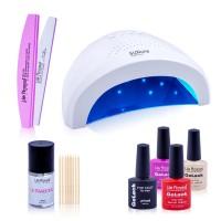 Kit Starter Lampa UV LED SUNone, Ultrabond + 3 oje Lila Rossa, 2 pile refolosibile