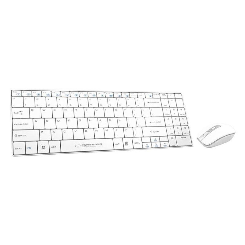 Kit Tastatura si Mouse Wireless Liberty Esperanza, Alb 2021 shopu.ro