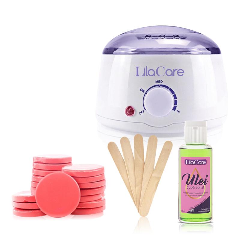 Kit epilare Incalzitor ceara Pro Wax 100 Lila Rossa LR100, 450 ml, 1 x ceara discuri, 1 x ulei dupa epilat, spatule incluse