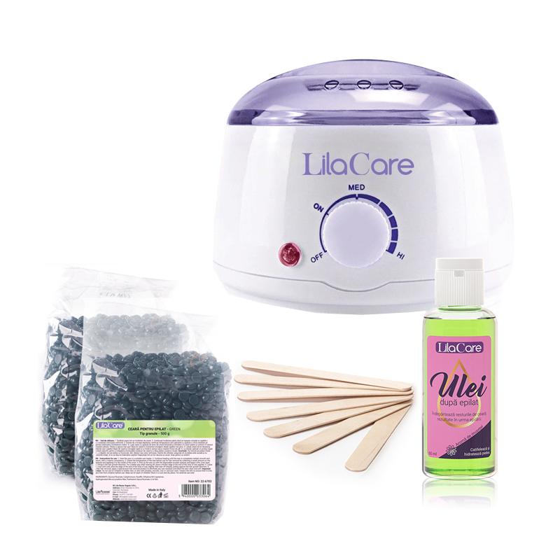 Kit epilare Incalzitor ceara Pro Wax 100 Lila Rossa LR100, 450 ml, 2 x ceara, 1 x ulei dupa epilat, spatule incluse
