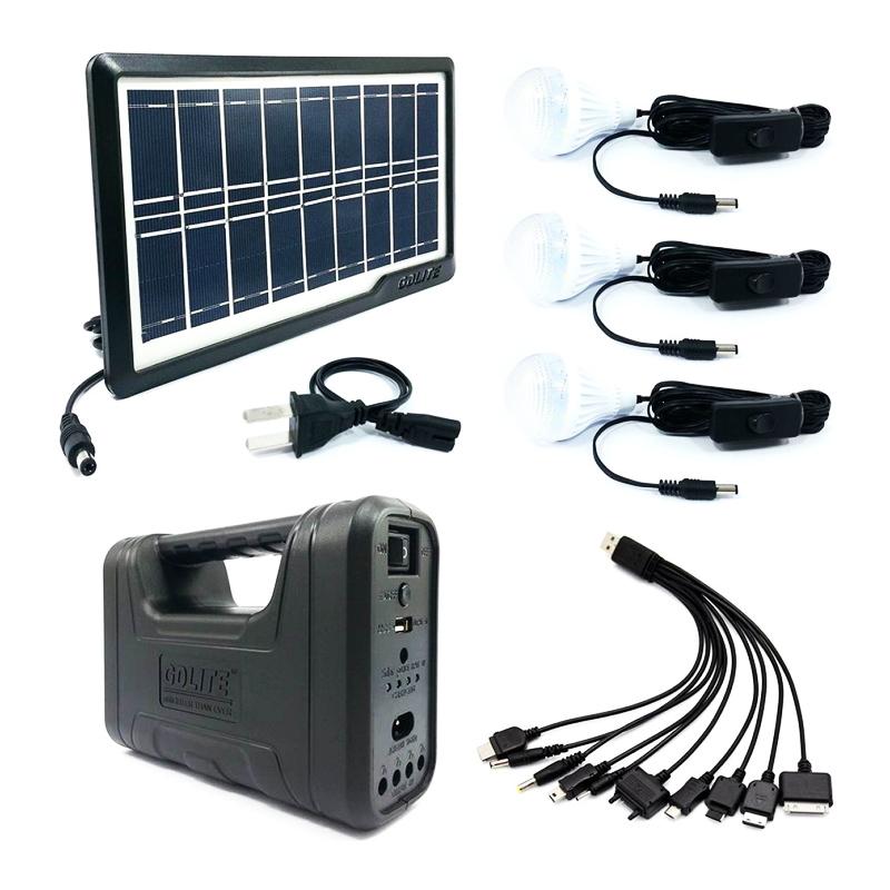 Kit solar portabil Gdliting GD-8017 Plus, USB, 3 becuri, lanterna LED 2021 shopu.ro
