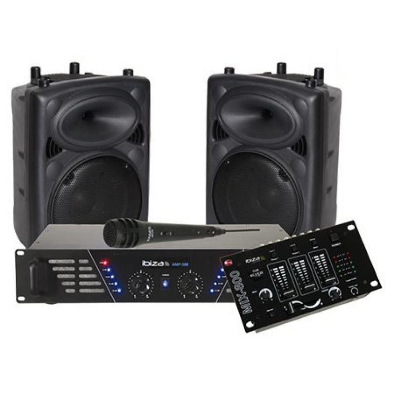 Kit sonorizare Ibiza, 2 boxe 10 inch, amplificator 2 x 240 W, mixer inclus 2021 shopu.ro