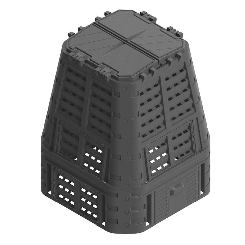 Lada compost pentru gradina, PVC, 650 L, Negru