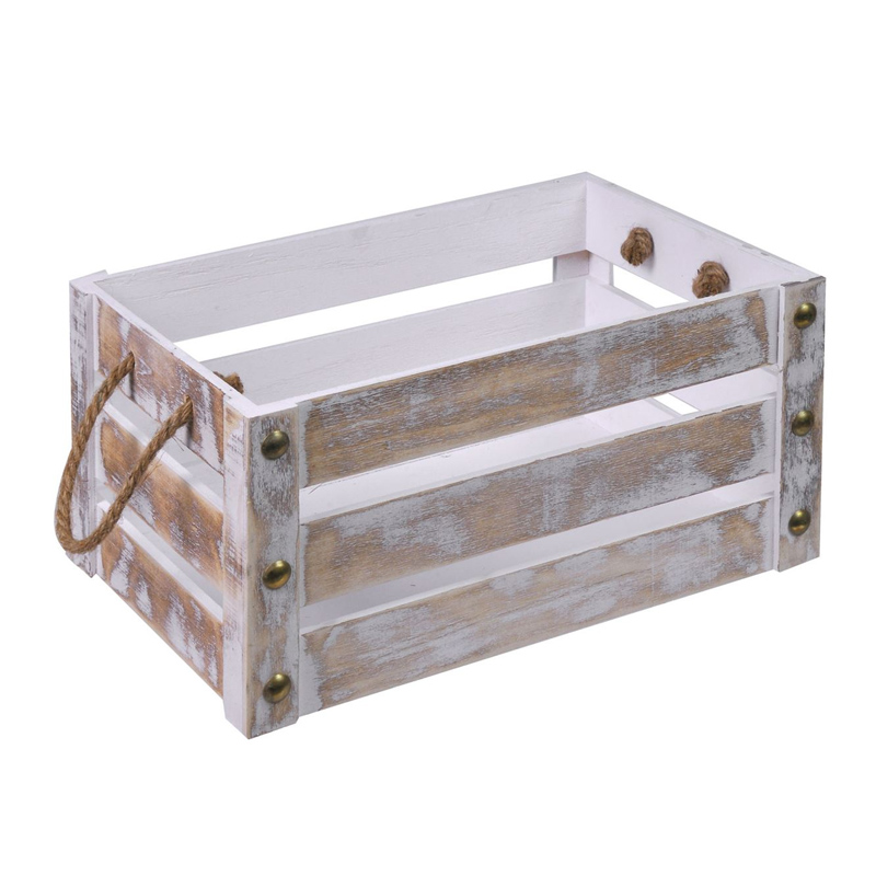 Ladita lemn pentru ghivece, 36.5 x 25 cm, manere funie 2021 shopu.ro