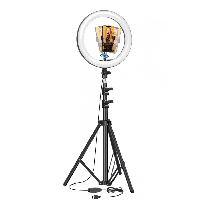 Lampa circulara BlitzWof Profesionala, 10 W, 120 x LED, 3000-6000 K, 12 trepte, lumina rece/calda, prindere telefon, telecomanda shopu.ro