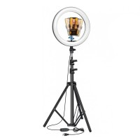 Lampa circulara BlitzWof  Profesionala, 10 W, 120 x LED, 3000-6000 K, 12 trepte, lumina rece/calda, prindere telefon, telecomanda