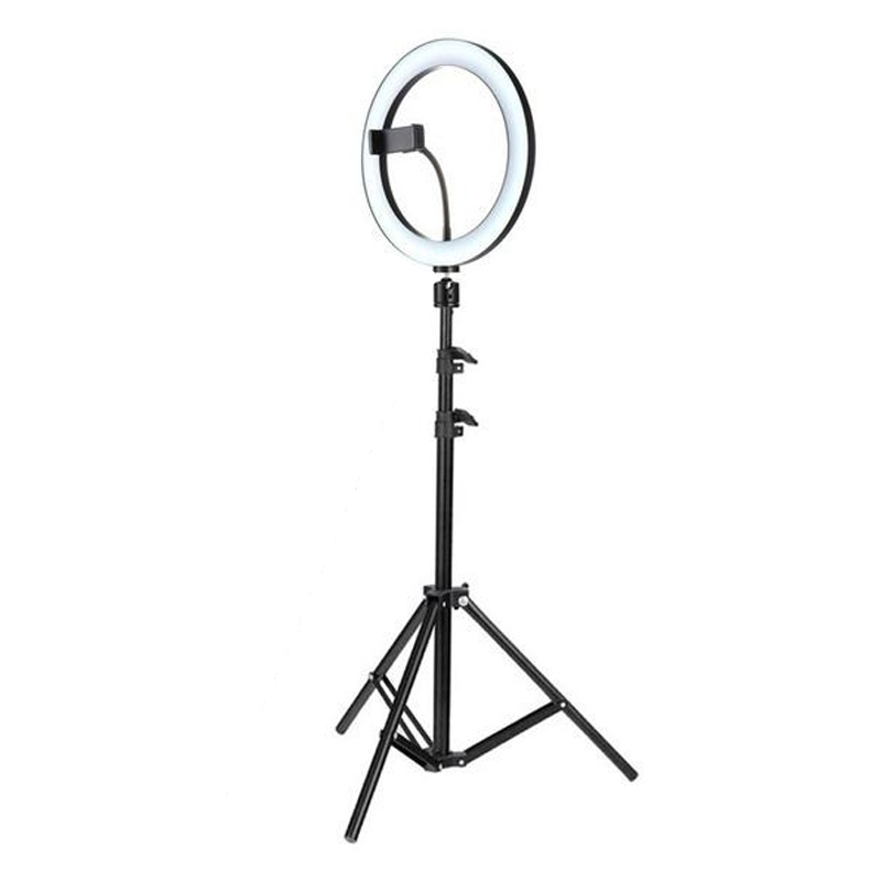 Lampa circulara Ring Light, 96 x LED SMD, 3 trepte lumina, alimentare USB, telecomanda pe fir, trepied inclus 2021 shopu.ro