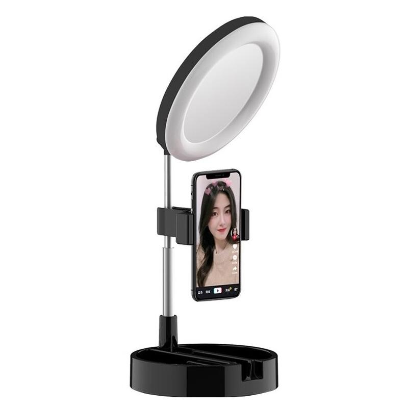 Lampa circulara de birou Mai Appearance G3, 12 W, 64 x LED, 10 nivele luminozitate, inaltime reglabila, suport bijuterii 2021 shopu.ro