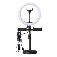 Lampa circulara de birou Ring Light, 20 W, 128 x LED, diametru 26 cm, 3200-5600 K, 3 x suport telefon
