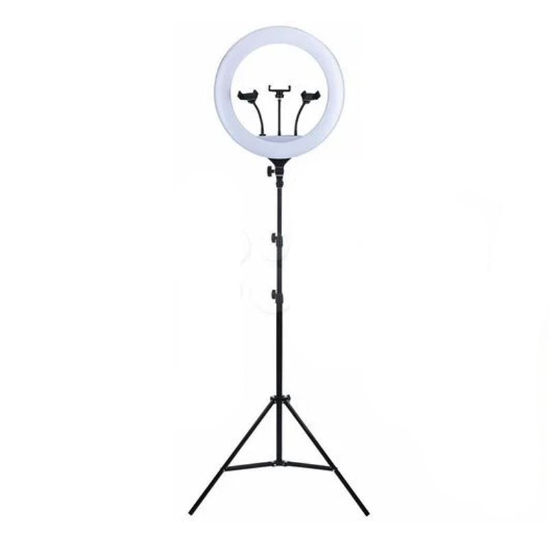 Lampa circulara profesionala YQ-460B, 48 W, 416 x LED SMD, 18 inch, 6000 lm, 3 trepte lumina, telecomanda, trepied inclus shopu.ro