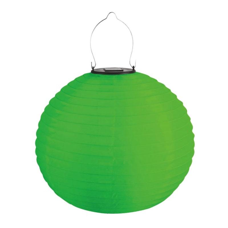 Lampa solara Hoff TH029B, tip lampion, material textil, Verde shopu.ro