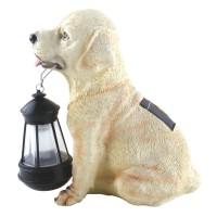 Lampa solara caine cu felinar Hoff TH036A, rasina, plastic, LED, 25 cm