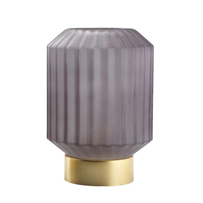 Lampa cu baterie, 38 lm, 2500 K, 14 x 17 cm, sticla/metal, Gri/Auriu shopu.ro