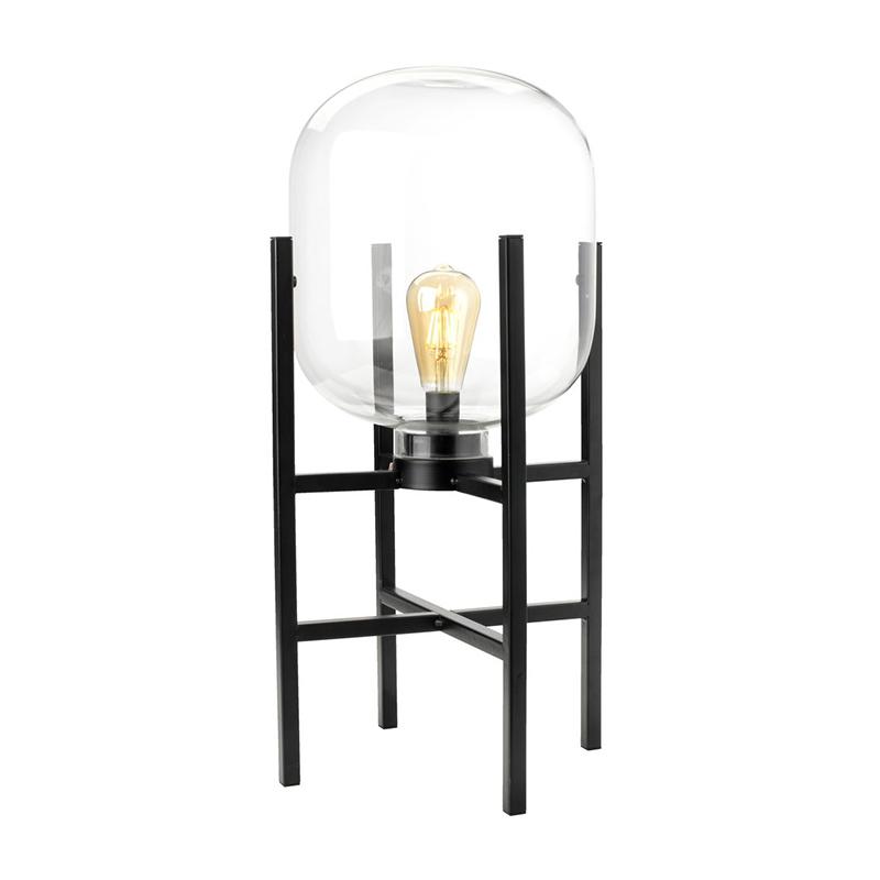 Lampa cu baterie, 98 lm, 2500 K, 26 x 58 cm, sticla/metal, Negru 2021 shopu.ro