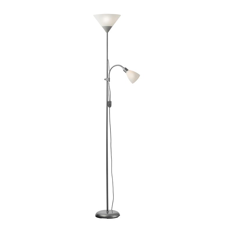 Lampadar Emy Plus, 28/52 W, 1 x E27/E14, 1790 mm, metal, abajur plastic, Gri/Alb shopu.ro