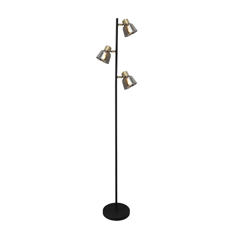 Lampadar Smoky, 40 W, 3 x E14, 1500 mm, metal, abajur sticla, IP20, Negru/Auriu 2021 shopu.ro