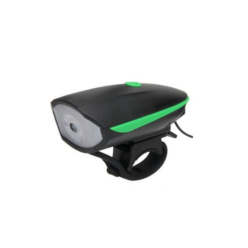 Lanterna LED pentru bicicleta, 1200 mAh, 250 lm, 120 dB, USB, claxon inclus, 3 functii, Negru/Verde 2021 shopu.ro