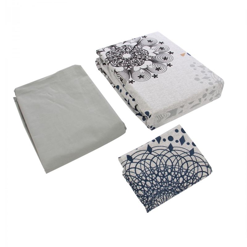 Lenjerie bumbac Grey Lace, 1 persoana, 160 x 220 cm, 3 piese shopu.ro