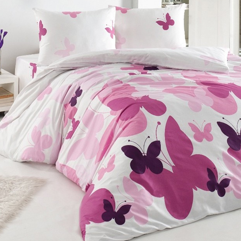 Lenjerie de pat Butterfly, 2 persoane, bumbac 100%, 4 piese, Alb/Roz 2021 shopu.ro