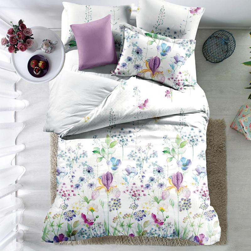 Lenjerie de pat Carrol 01, 2 persoane, poliester 100%, 4 piese, model floral 2021 shopu.ro