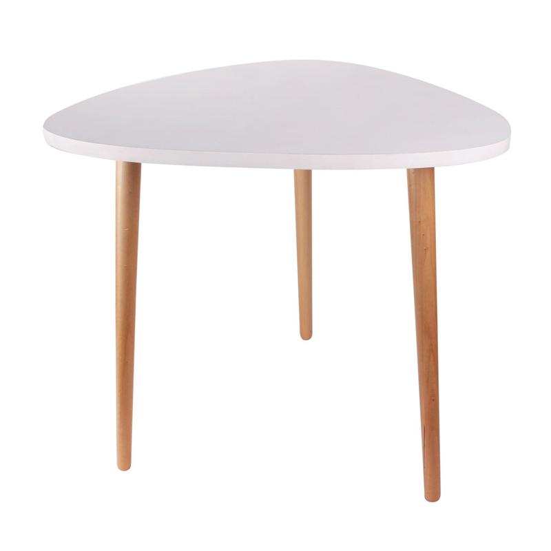 Masa asimetrica lemn Sinbo, 50 x 50 x 48 cm, Alb/Maro 2021 shopu.ro