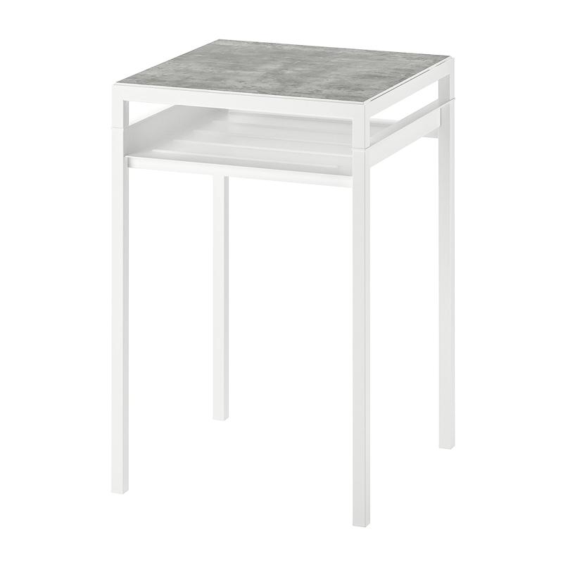 Masa auxiliara cu blat reversibil, 40 x 40 x 60 cm, model industrial, textura beton, Alb 2021 shopu.ro