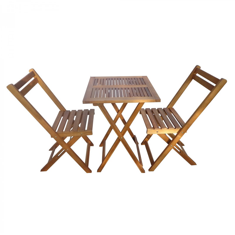 Masa cu 2 scaune pentru gradina Bistro, lemn, pliabile 2021 shopu.ro