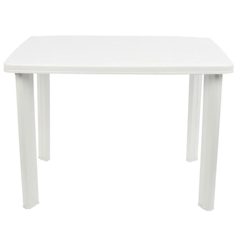 Masa pentru gradina Fareto, plastic, dreptunghiulara, 6 persoane, 100 x 70 x 72 cm, alba 2021 shopu.ro