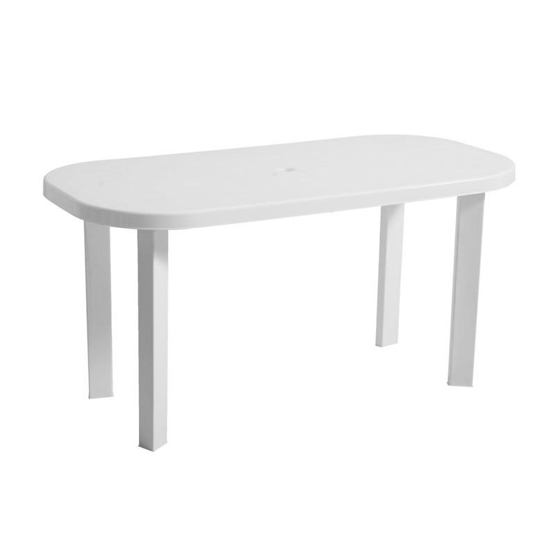 Masa pentru gradina Garden, plastic, ovala, 6 persoane, 140 x 70 x 70 cm, alba