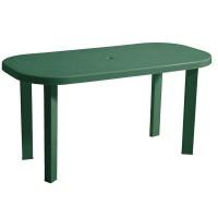 Masa pentru gradina Garden, plastic, ovala, 6 persoane, 140 x 70 x 70 cm, verde