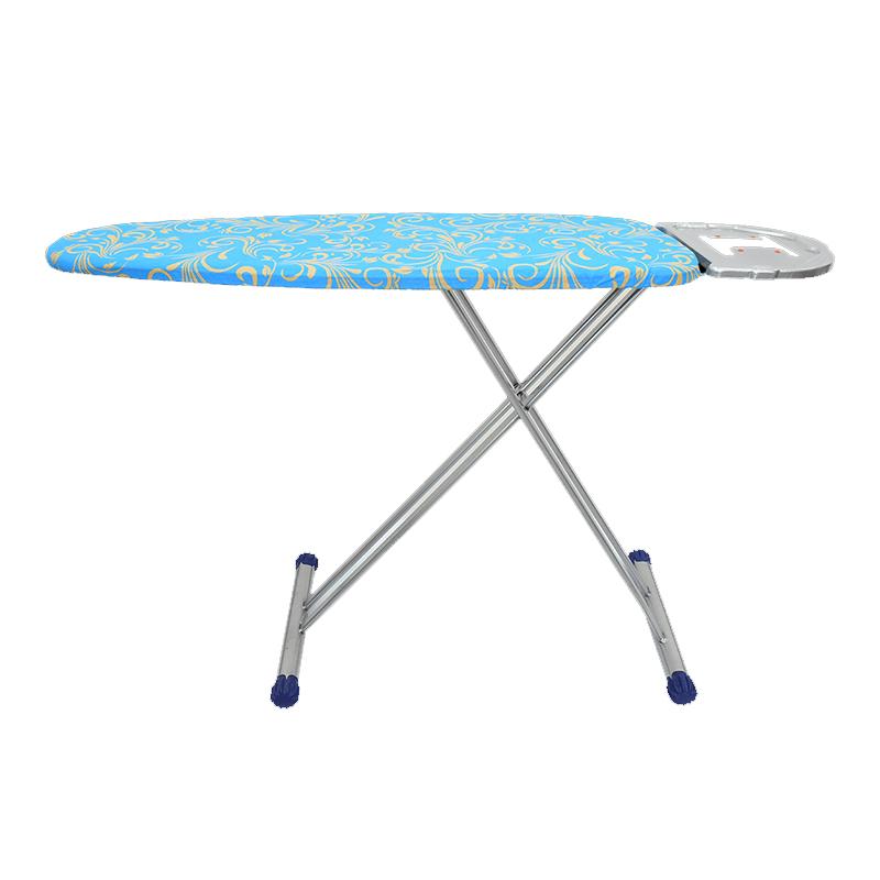 Masa de calcat Maestro, 120 x 43 cm, husa bumbac, brat metalic, Albastru/Galben shopu.ro
