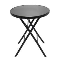 Masa pentru gradina, 60 x 70 cm, metal/sticla, 2 persoane, forma rotunda, Negru