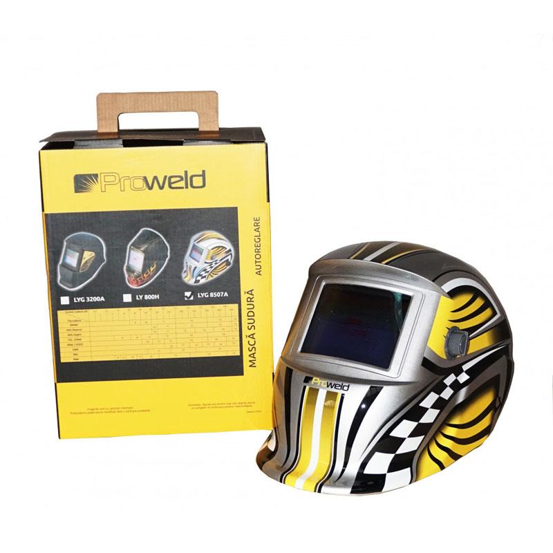 Masca de sudura ProWeld LYG-8507A, camp vizual 92.5 x 42.5 mm, 600 mAh, DIN 16, reglabila