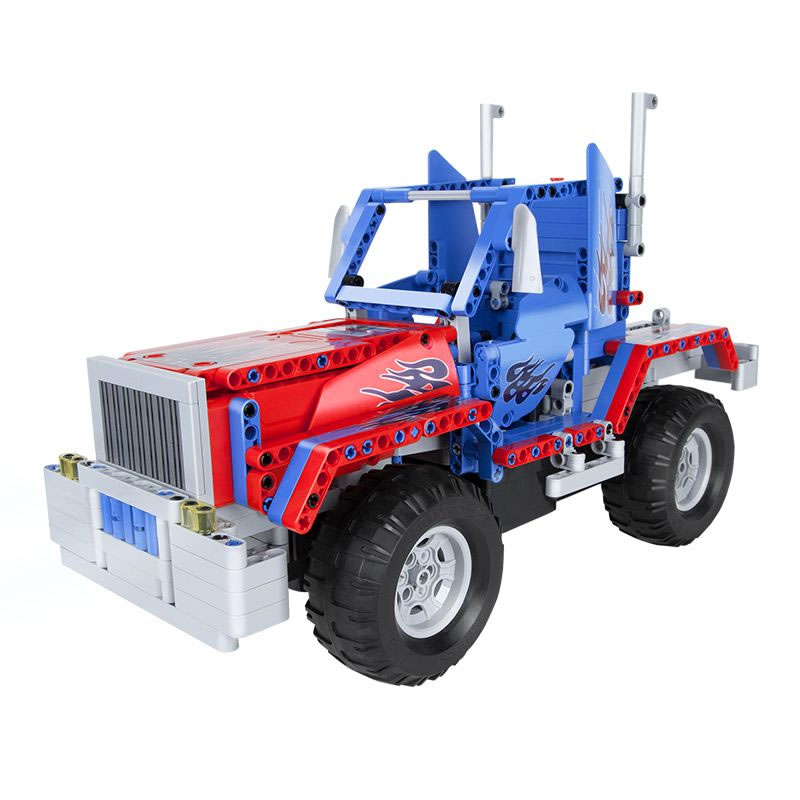 Masina RC 2 in 1 BLOCKS TRUCK by QUER, raza de actiune 30 m, 531 piese 2021 shopu.ro