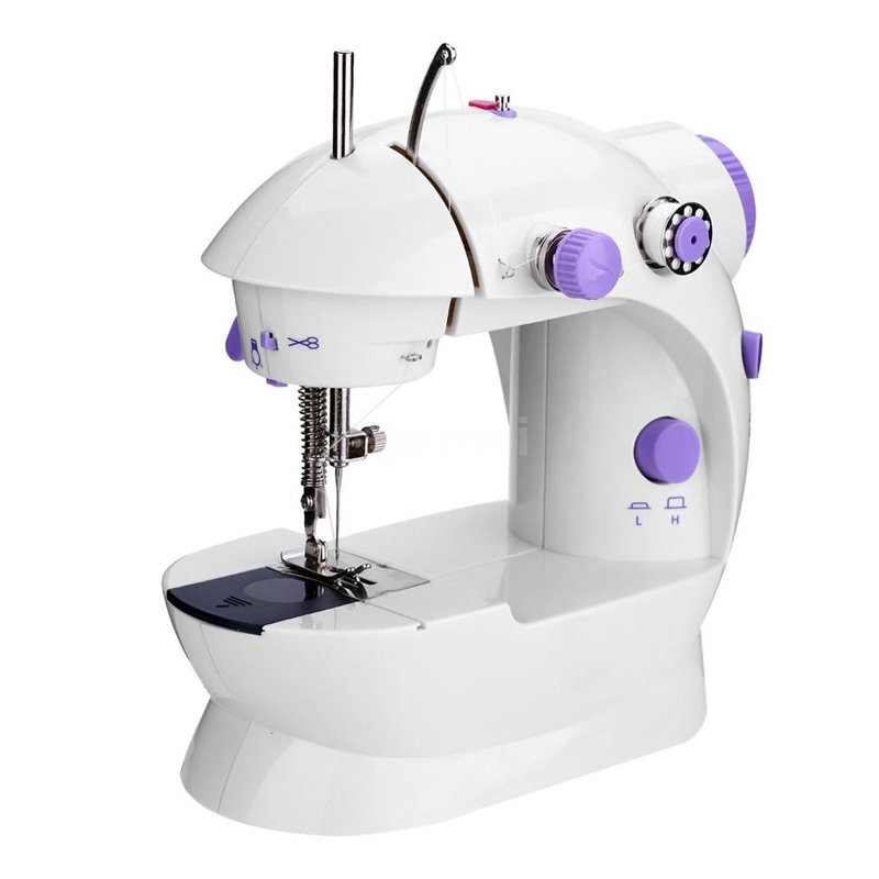 Masina de cusut Mini Sewing Machine SM-202A, LED, 4 baterii, pedala 2021 shopu.ro