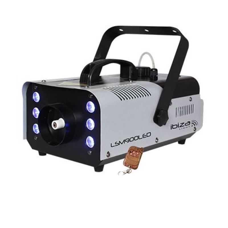 Masina profesionala de fum Ibiza, 900W, 6 LED-uri RGB, telecomanda 2021 shopu.ro