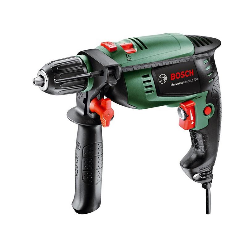Masina de gaurit Bosch, 700 W, 3000 rpm, geanta inclusa, Verde/Negru shopu.ro