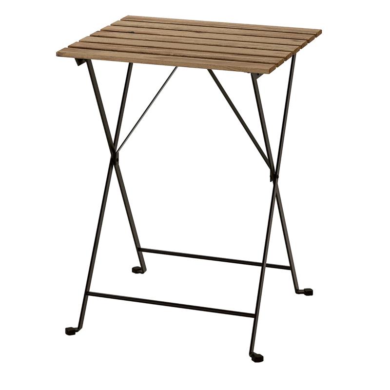 Masuta pliabila pentru balcon Barrel, 55 x 54 cm, lemn masiv, cadru negru shopu.ro