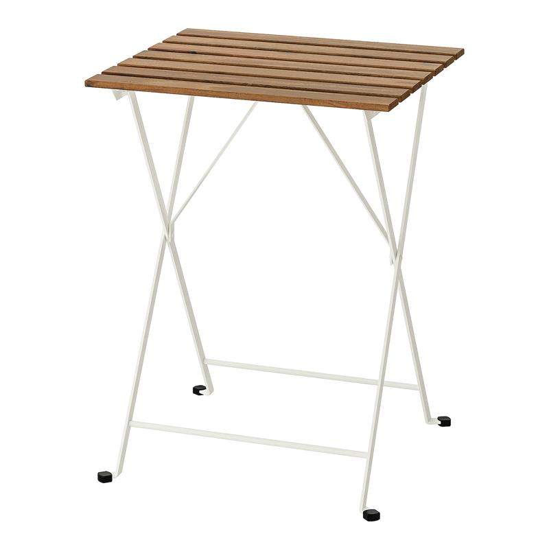 Masuta pliabila pentru balcon Barrel, 55 x 54 cm, lemn masiv, cadru alb shopu.ro