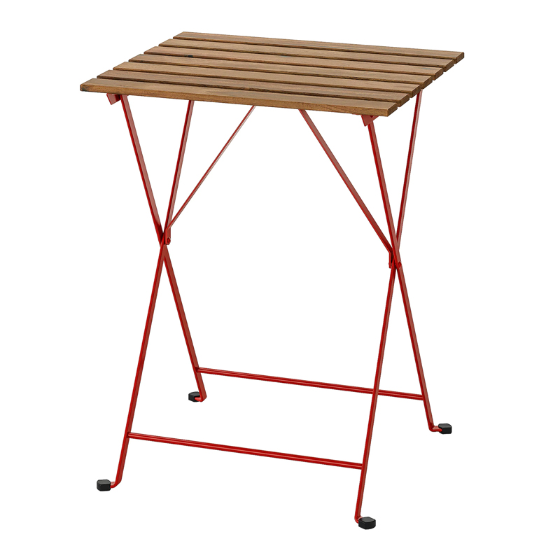 Masuta pliabila pentru balcon Barrel, 55 x 54 cm, lemn masiv, cadru rosu shopu.ro